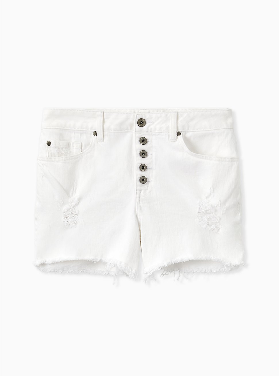 Plus Size High Rise Short Short - Vintage Stretch White, OPTIC WHITE, hi-res