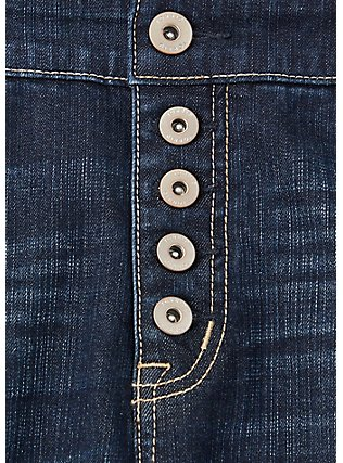 High Rise Mid Short - Vintage Stretch Dark Wash , TROUBADOUR, alternate