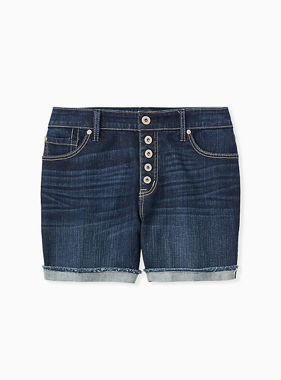 Plus Size High Rise Mid Short - Vintage Stretch Dark Wash , , hi-res