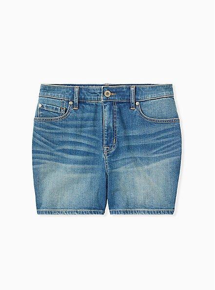 Plus Size High Rise Mid Short - Vintage Stretch Medium Wash, BACKSEAT BINGO, hi-res