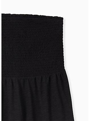 Black Slub Jersey Smocked Strapless Babydoll Top, DEEP BLACK, alternate