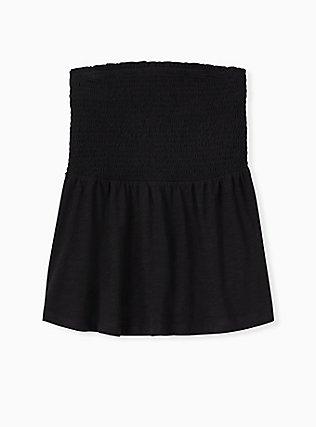 Black Slub Jersey Smocked Strapless Babydoll Top, DEEP BLACK, hi-res