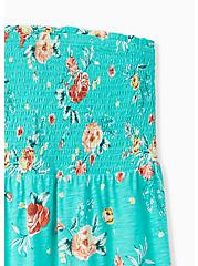 Turquoise Floral Slub Jersey Strapless Babydoll Top , FLORALS-GREEN, alternate