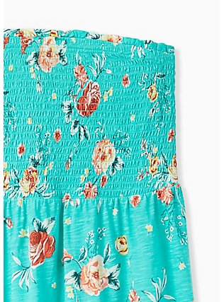 Plus Size Turquoise Floral Slub Jersey Strapless Babydoll Top , FLORALS-GREEN, alternate