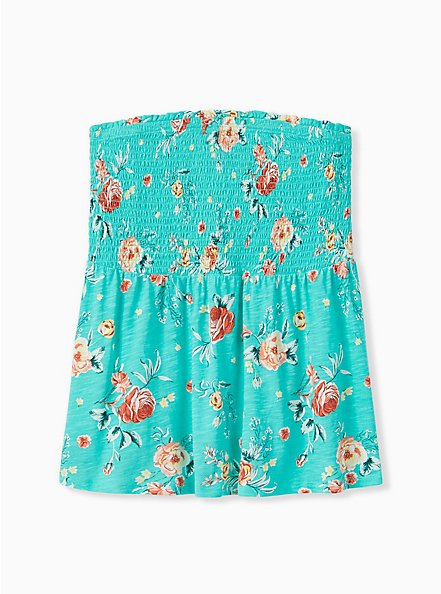 Turquoise Floral Slub Jersey Strapless Babydoll Top , FLORALS-GREEN, hi-res