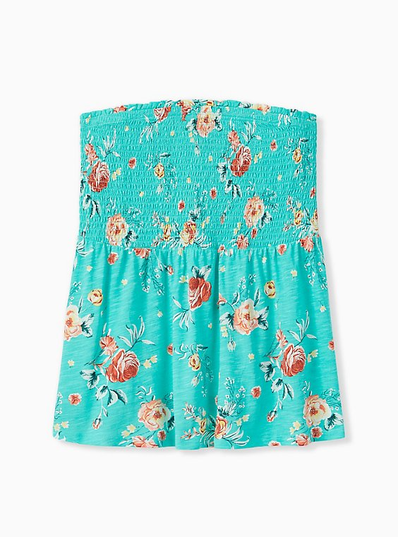 Turquoise Floral Slub Jersey Strapless Babydoll Top , , hi-res