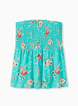 Plus Size Turquoise Floral Slub Jersey Strapless Babydoll Top , FLORALS-GREEN, hi-res