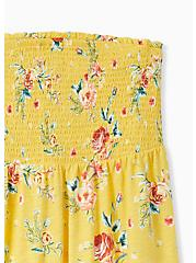 Yellow Floral Slub Jersey Strapless Babydoll Top, FLORALS-YELLOW, alternate