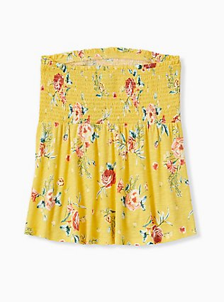Plus Size Yellow Floral Slub Jersey Strapless Babydoll Top, FLORALS-YELLOW, alternate