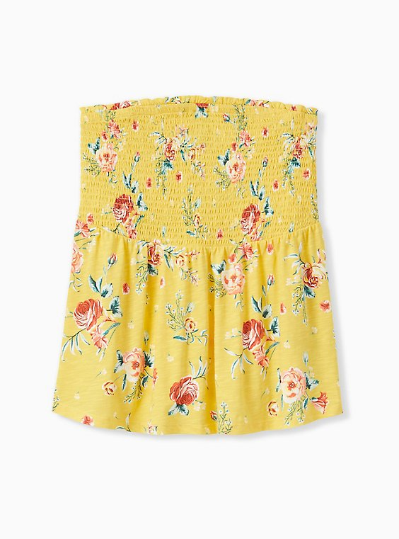Plus Size Yellow Floral Slub Jersey Strapless Babydoll Top, , hi-res