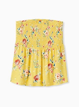 Plus Size Yellow Floral Slub Jersey Strapless Babydoll Top, FLORALS-YELLOW, hi-res