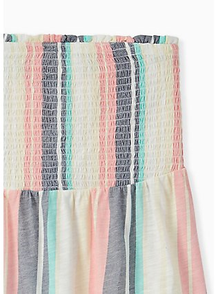 Plus Size Pastel Stripe Slub Jersey Strapless Babydoll Top , STRIPES, alternate