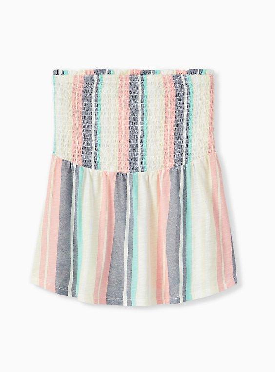 Pastel Stripe Slub Jersey Strapless Babydoll Top , , hi-res