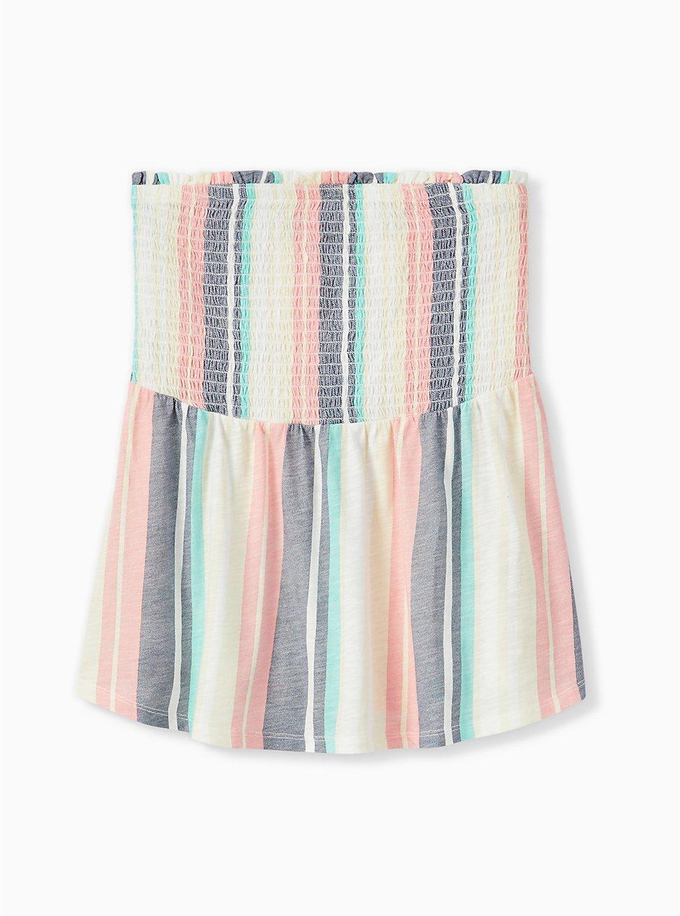 Pastel Stripe Slub Jersey Strapless Babydoll Top , STRIPES, hi-res