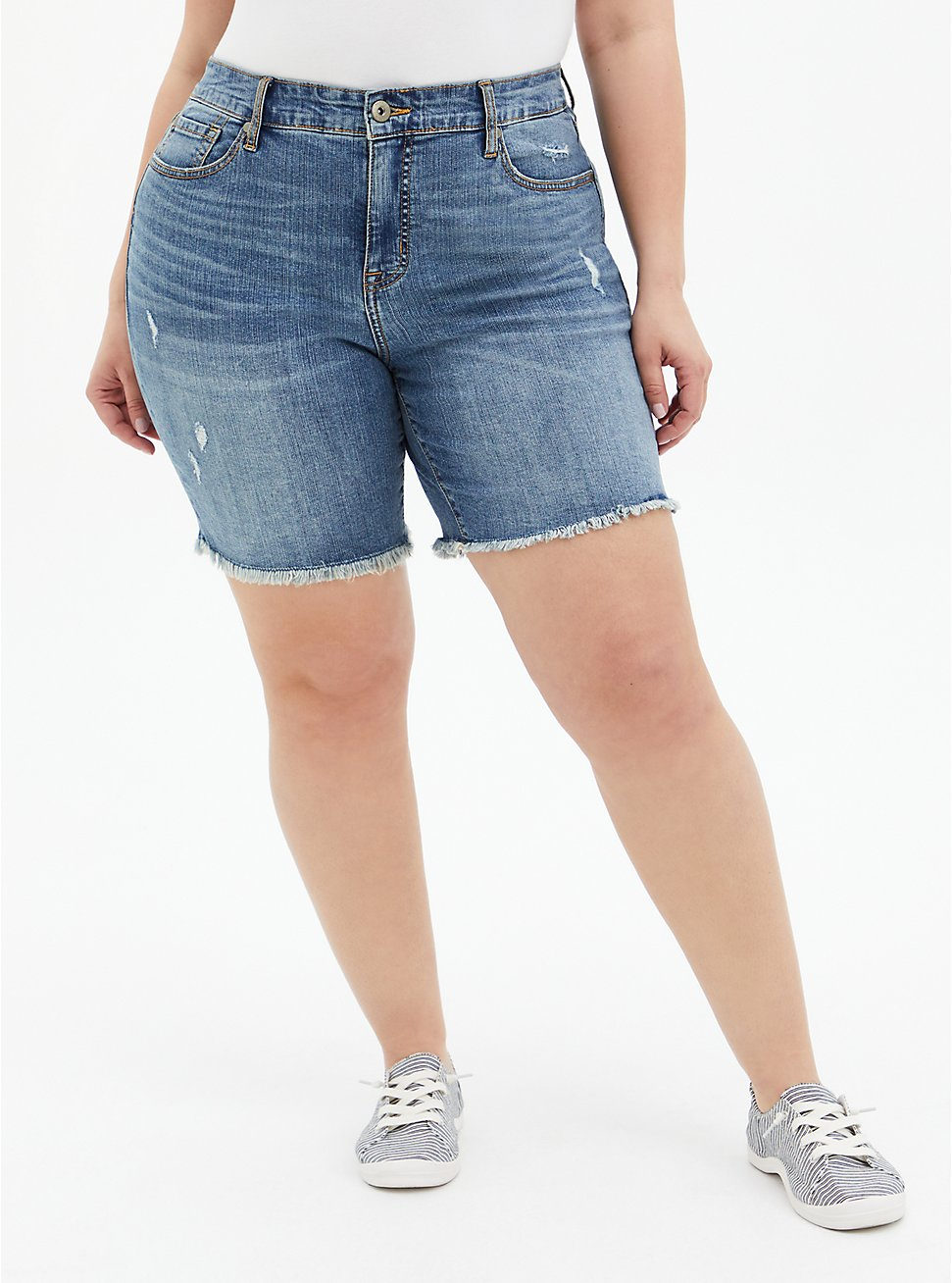 High Rise Bermuda Short - Vintage Stretch Medium Wash , DURANGO, hi-res
