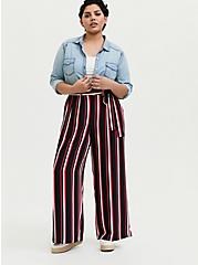 Black & Fuchsia Pink Stripe Challis Self Tie Wide Leg Pant, STRIPES, alternate