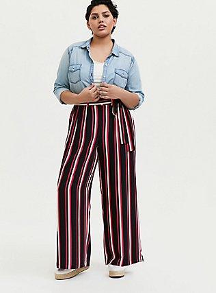 Black & Fuchsia Pink Stripe Challis Self Tie Wide Leg Pant, STRIPES, alternate