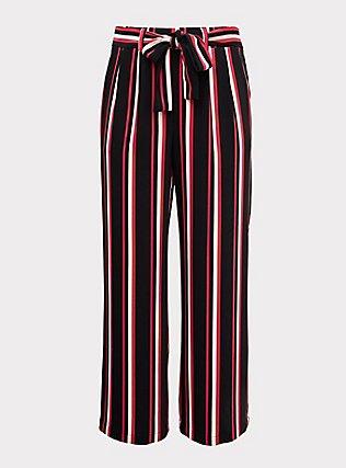 Black & Fuchsia Pink Stripe Challis Self Tie Wide Leg Pant, STRIPES, flat
