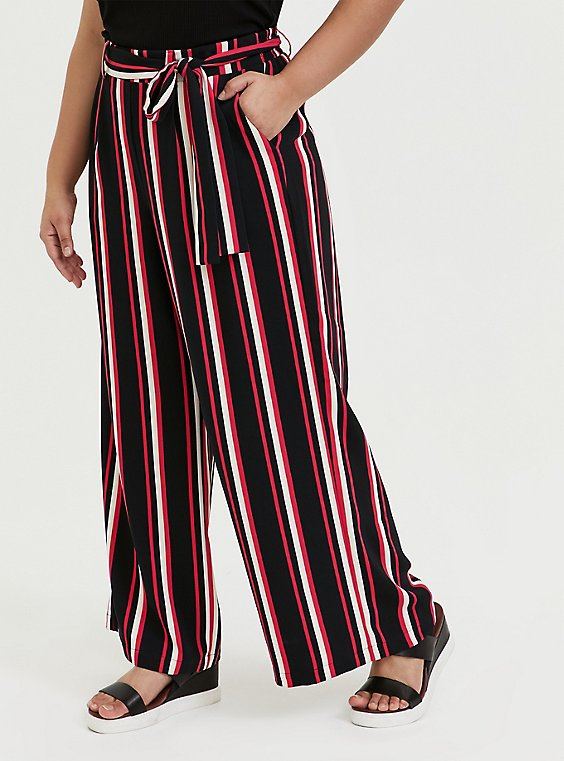 Plus Size Black & Fuchsia Pink Stripe Challis Self Tie Wide Leg Pant, , hi-res