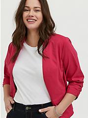 Plus Size Fuchsia Pink Millennium Stretch Cutaway Blazer, PINK PASSION, hi-res