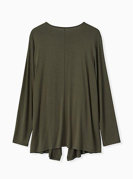 Super Soft Olive Green Drape Front Cardigan, DEEP DEPTHS, alternate