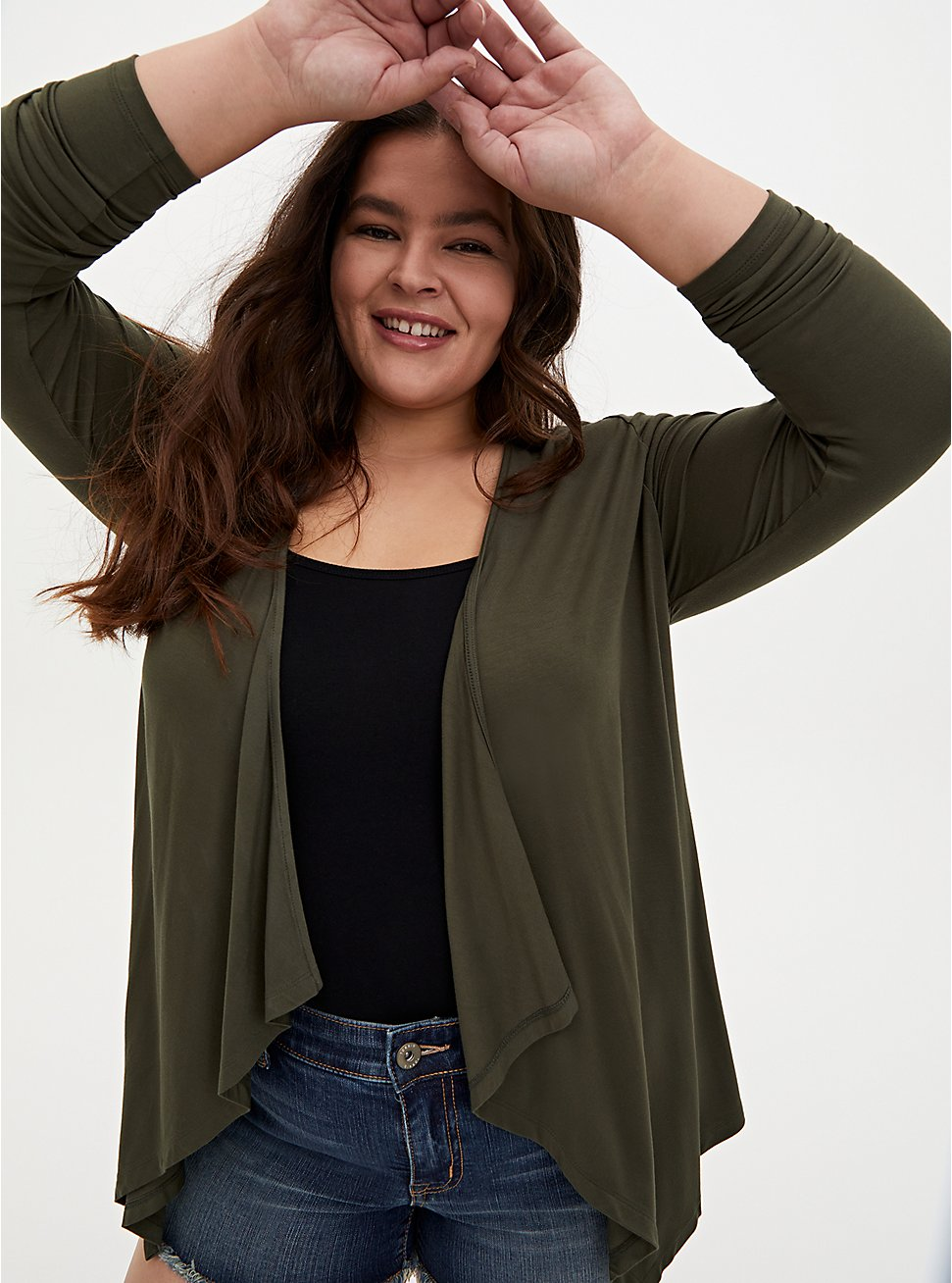 Plus Size Super Soft Olive Green Drape Front Cardigan, DEEP DEPTHS, hi-res