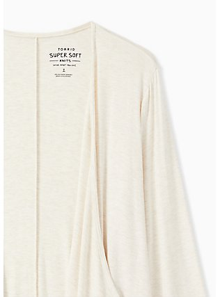 Super Soft Oatmeal Drape Front Cardigan, OATMEAL HEATHER, alternate