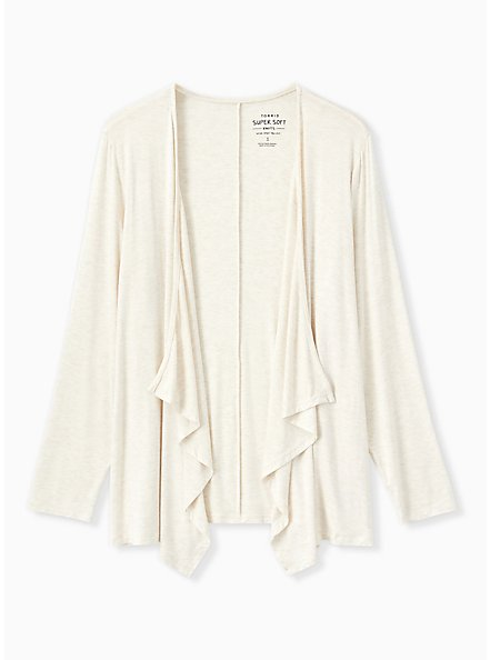 Super Soft Oatmeal Drape Front Cardigan, OATMEAL HEATHER, hi-res
