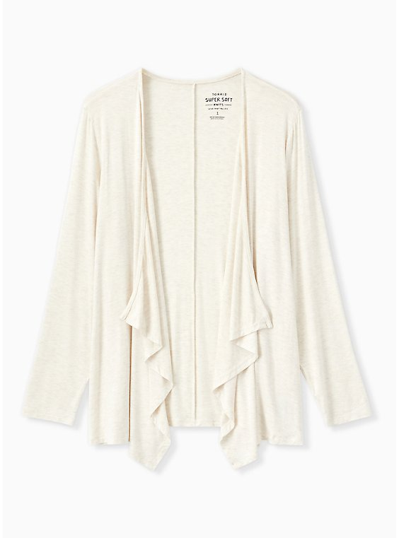 Super Soft Oatmeal Drape Front Cardigan, , hi-res