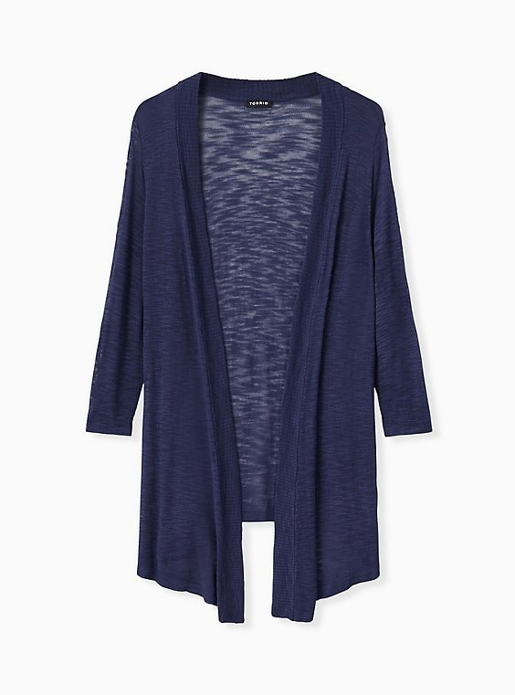 Plus Size Navy Slub Open Front Cardigan, , hi-res