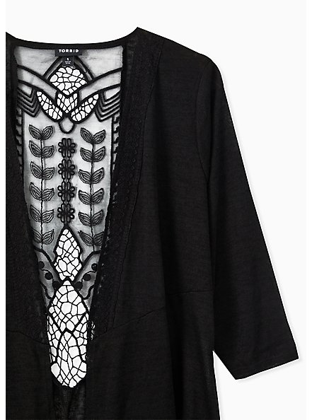 Black Hacci Crochet Back Drape Front Cardigan, DEEP BLACK, alternate