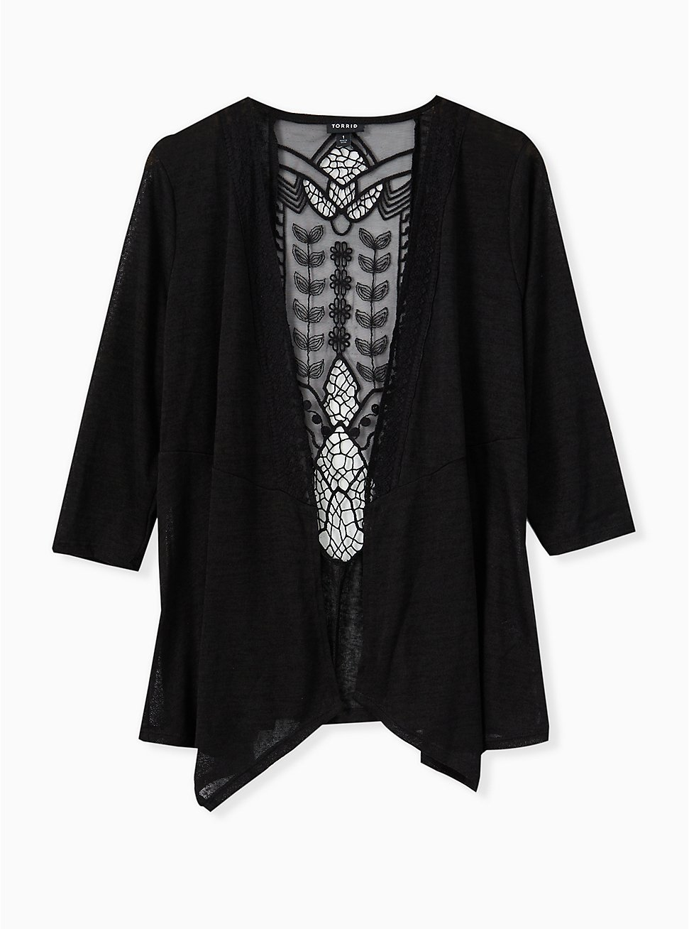 Black Hacci Crochet Back Drape Front Cardigan, DEEP BLACK, hi-res