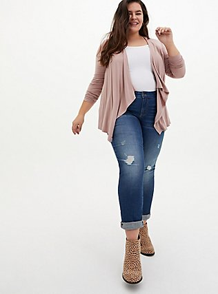 Super Soft Taupe Drape Front Cardigan, FAWN, alternate