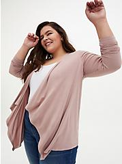 Super Soft Taupe Drape Front Cardigan, FAWN, hi-res
