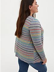 Celebrate Love Super Soft Grey Rainbow Stripe Drape Front Cardigan, STRIPE - MULTICOLOR, alternate