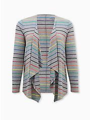 Celebrate Love Super Soft Grey Rainbow Stripe Drape Front Cardigan, STRIPE - MULTICOLOR, hi-res