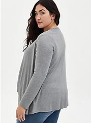 Plus Size Super Soft Heather Grey Drape Front Cardigan, HEATHER GREY, alternate