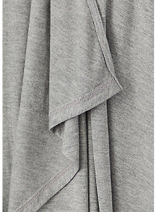 Super Soft Heather Grey Drape Front Cardigan, HEATHER GREY, alternate