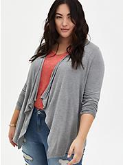 Super Soft Heather Grey Drape Front Cardigan, HEATHER GREY, hi-res
