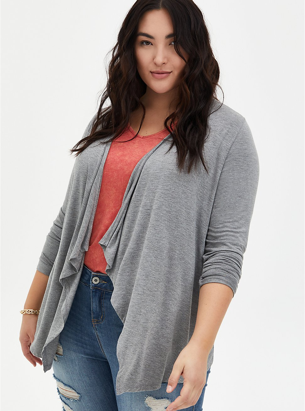 Plus Size Super Soft Heather Grey Drape Front Cardigan, HEATHER GREY, hi-res