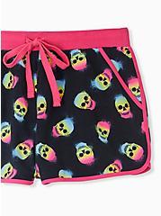 Hot Pink & Black Colorful Skull Sleep Short , MULTI, alternate