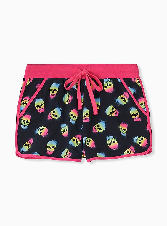 Plus Size Hot Pink & Black Colorful Skull Sleep Short , , hi-res