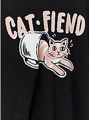 Cat-fiend Black Slub Jersey V-Neck Sleep Tee, DEEP BLACK, alternate