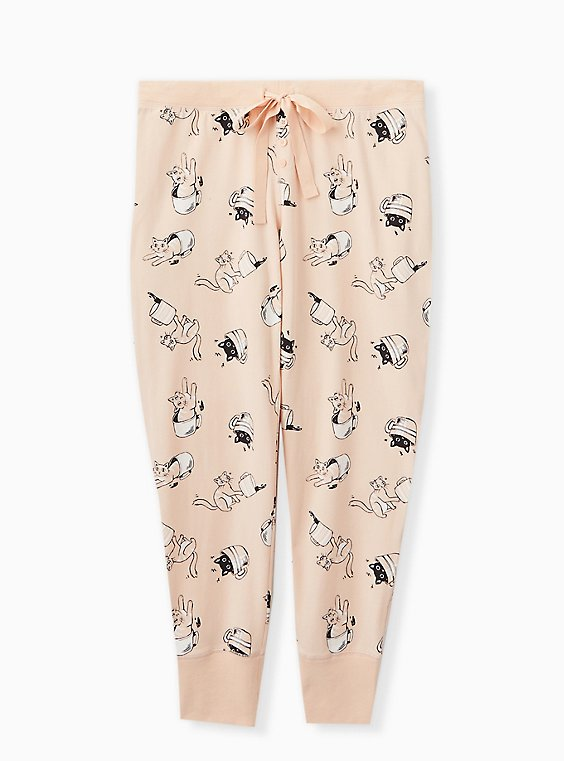 Light Pink Cat Mug Drawstring Sleep Pant, , hi-res