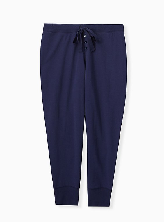 Plus Size Navy Drawstring Sleep Pant , , hi-res