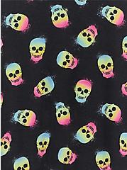 Black & Colorful Skull Cinched Side Sleep Tunic, MULTI, alternate
