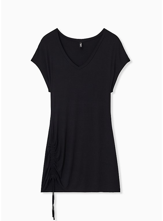 Black Drawstring Side Sleep Tunic Tee, , hi-res