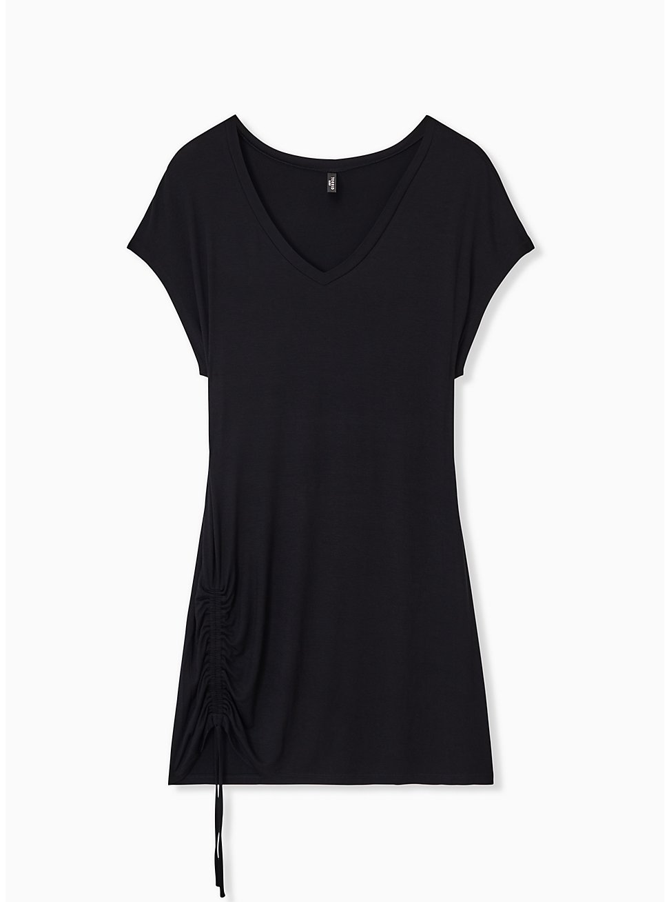 Black Drawstring Side Sleep Tunic Tee, DEEP BLACK, hi-res