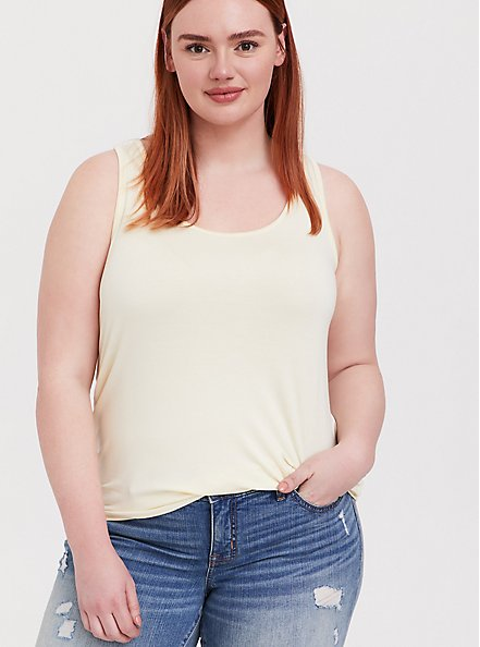 Super Soft Light Yellow Layering Tank, BUTTER YELLOW, hi-res