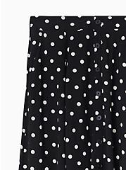 Black & White Polka Dot Challis Button Midi Skirt , DOTS - BLACK, alternate